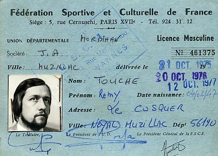 Une des premières licences du club 1975